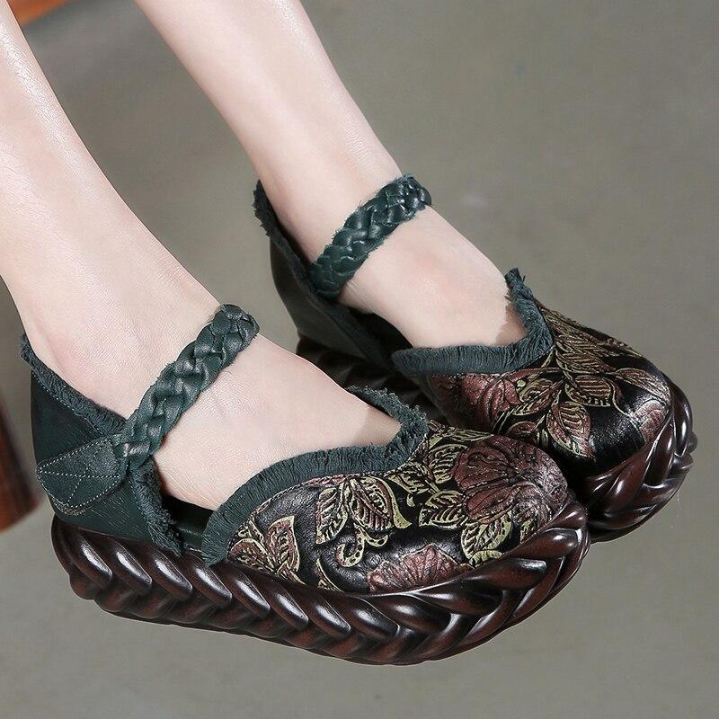 Frauen 5 CM High Heels Stickerei Frühling Leder Frauen Schuhe Keil Heels Ankle Strap Frauen Leder Sandalen Blume Schuhe Handmade-in Hohe Absätze aus Schuhe bei  Gruppe 1