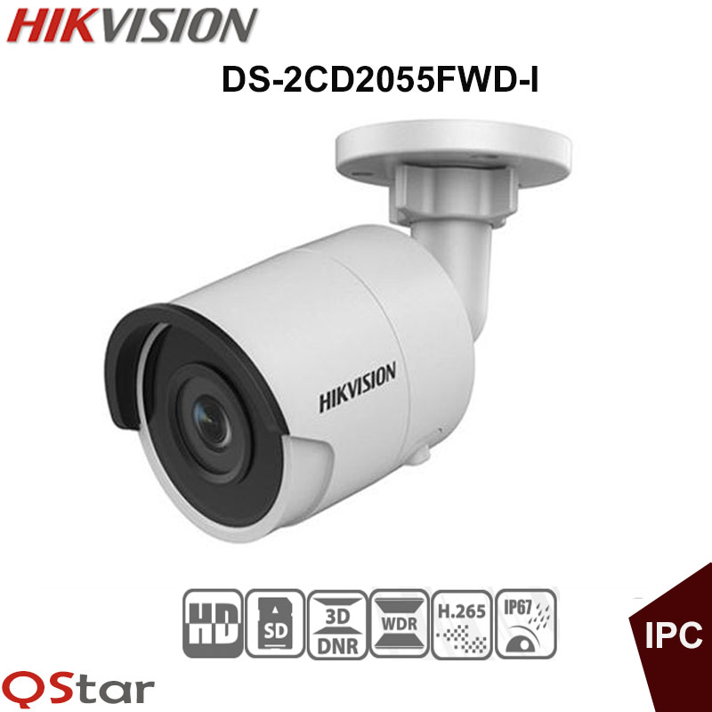 Hikvision Original English H.265 5MP IP Camera Security Outdoor Camera DS-2CD2055FWD-I 5MP Bullet CCTV IP Camera H.265 IP67 POE hikvision original outdoor cctv system 8pcs ds 2cd2t55fwd i8 5mp h 265 ip bullet camera ir 80m poe 4k nvr ds 7608ni i2 8p h 265