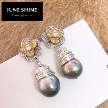 Tahitian Freshwater Pearl Drop Earrings Real Nature black Pearl 925 sliver women fashion wedding jewelry  style earings DE014