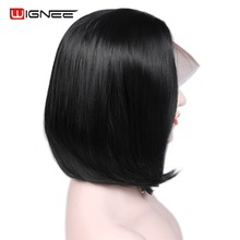 Wignee Short Lace Front Synthetic Hair Wigs For Women High Density Bob Wig Natural Black Straight 2019 New Soft Machine