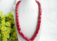 FREE shipping>>> >>>Genuine 21 17mm column red coral beads necklace 6.07