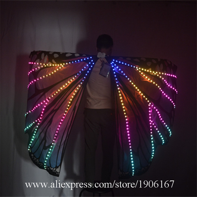 Ballroom dance led costumes luminous light dj dance colorful cloak butterfly wings catwalk perforamance dress clothe show dj04