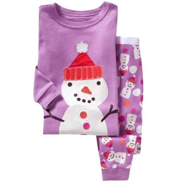 Children's Christmas Pajamas Set 2-7 Years Girls Pajamas Cartoon Snowman Pattern Kids Clothing Set Boys Sleepwear Baby Pijama