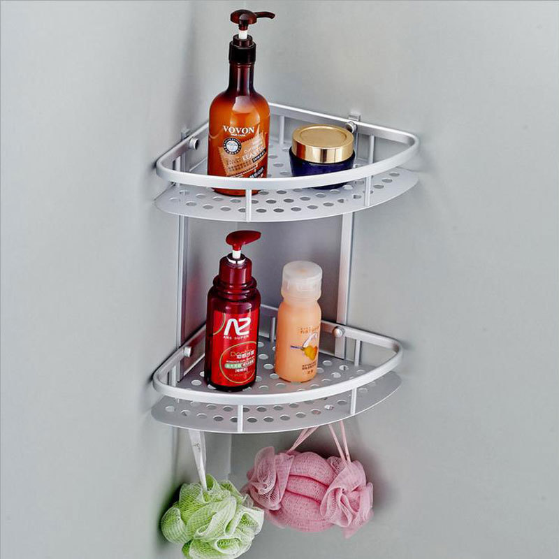 Home Hook Shower Storage 2 Layer Bath Corner Shelf Wall Mounted ...