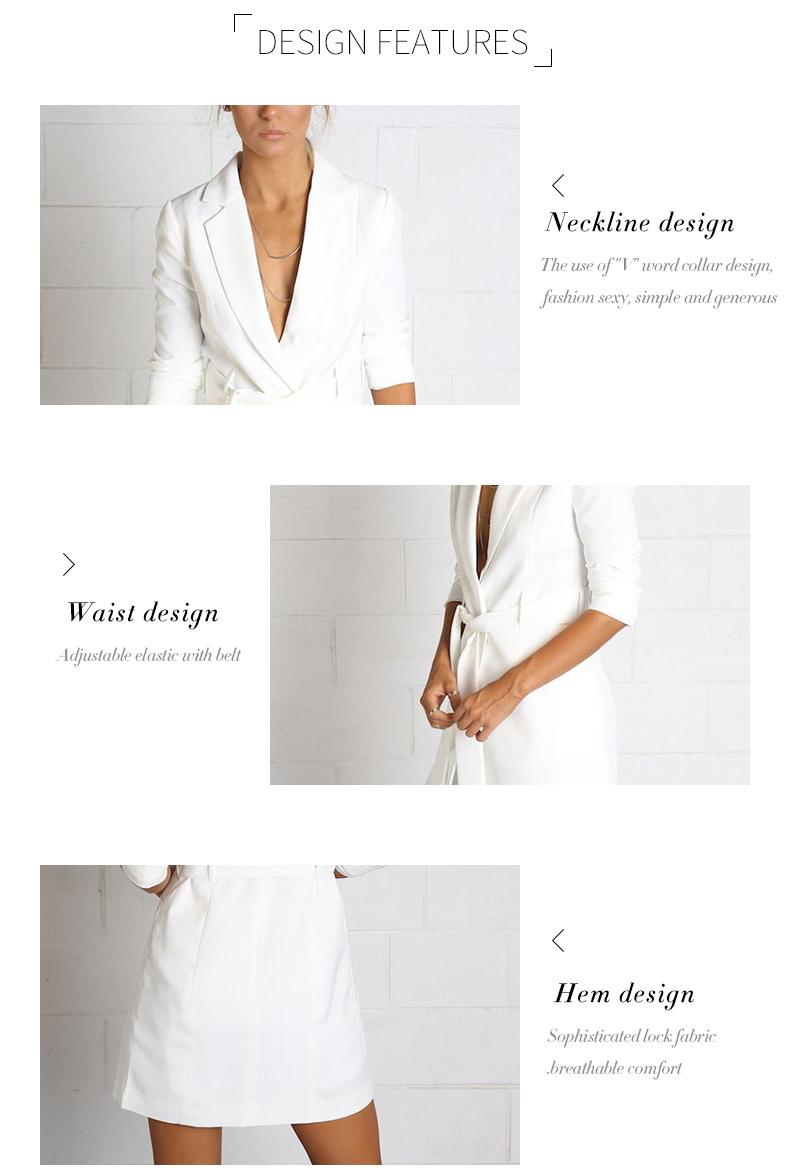 RichLuLu Bialy Blazer Kobiety Odzież Belt Biuro Panie Długi Rękaw Elegancka Kurtka Kobiet Głęboki Dekolt Blazer Cardigans 12