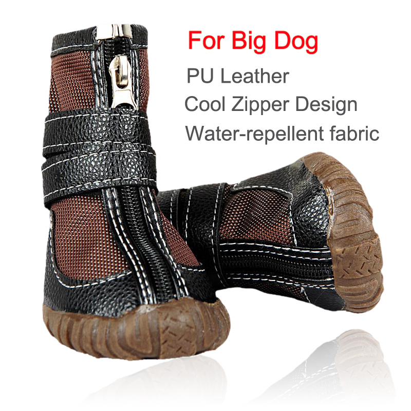 High-quality Large Dog Boots Waterproof PU Leather Cool Zipper Design Water-repellent fabric Shoe For Dog big Dog Shoes