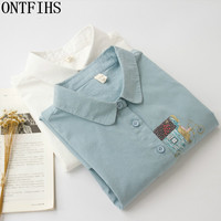 ONTFIHS NEW Korean Style Women S Blouses Long Sleeve Shirt Womens Top And Blouse Casusal Blusas