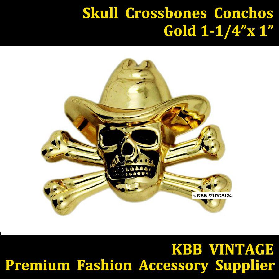 KB701) Wholesale 50pc 1 1/4\'\' Western Concho Cowboy Decor Skull ...