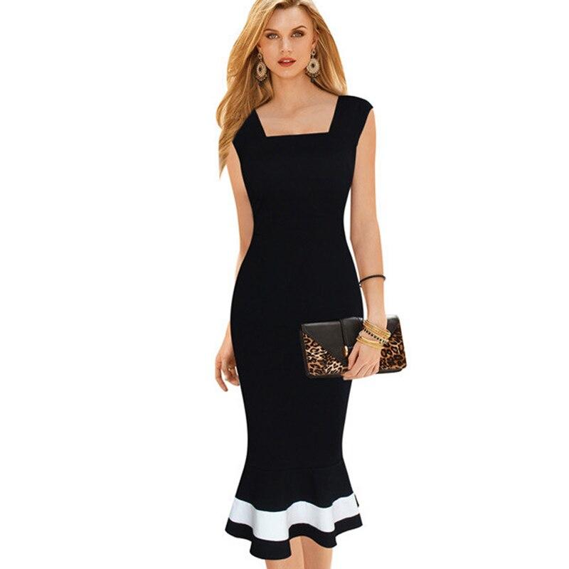 Women Vintage Mermaid Stripe Dress Square Collar Patchwork White Black Trumpet Dresses B221 B233