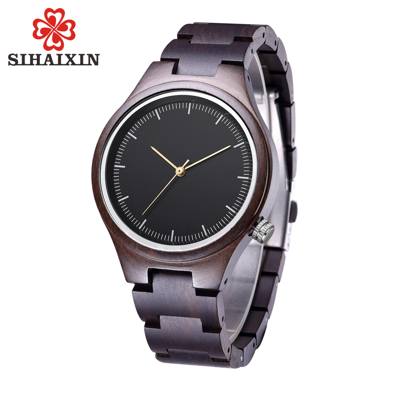 SIHAIXIN Personalized Women s Wood Watch With Retro Vintage Relogio Clock Woman Wooden Quartz Wristwatches Gift