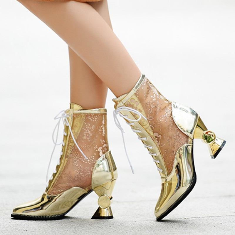 ФОТО 2017 New Arrivals Women Summer Boots Sexy Air Mesh Lace up Transparent Ankle Boots Female Ladies Gold/Silver Party shoes Bottes