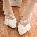 Zapatos de La Boda blanca 100% algodón de La Flor de dama de Honor Zapatos de Tacón Bajo Femeninos Perla Bombas apliques Dulce 3 cm/5 cm/8 cm Talón