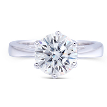 Transgems 925 Sterling Silver 2 Carat Moissanite Diamond White Gold Plated Siver Engagement Rings For Women in Fashion Jewelry