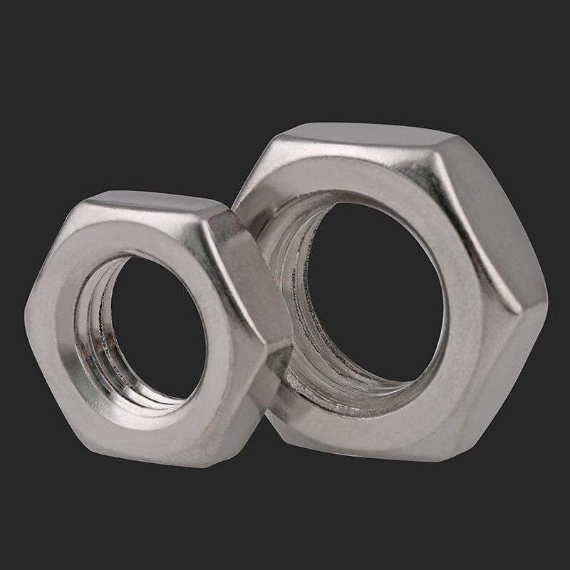 Screws 1-50pcs Thin Hex Nuts Screw 304 Stainless Steel M3 M4 M5 M6 M8 M10 M12 M14 M16 M18 M20 DIN439 Nuts Nails Size : M16 2pcs