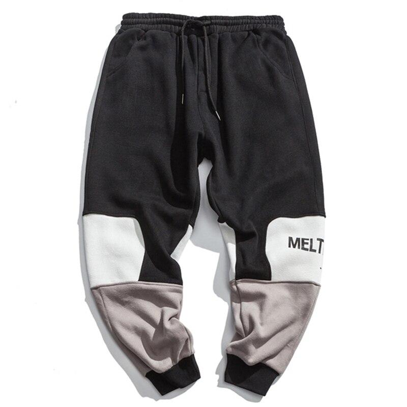 Empalme De Pantalones Carta La Alta Chándal Aolamegs Contraste Jogger Ocasional Los Ocio Black Moda Calle Hombres Pista TqWCUY