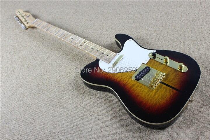 все цены на Hot sale tuff dog tele guitarra.quilted maple top. vintage sunburst tele guitar.gold hardware .one piece TL guitar free shipping онлайн