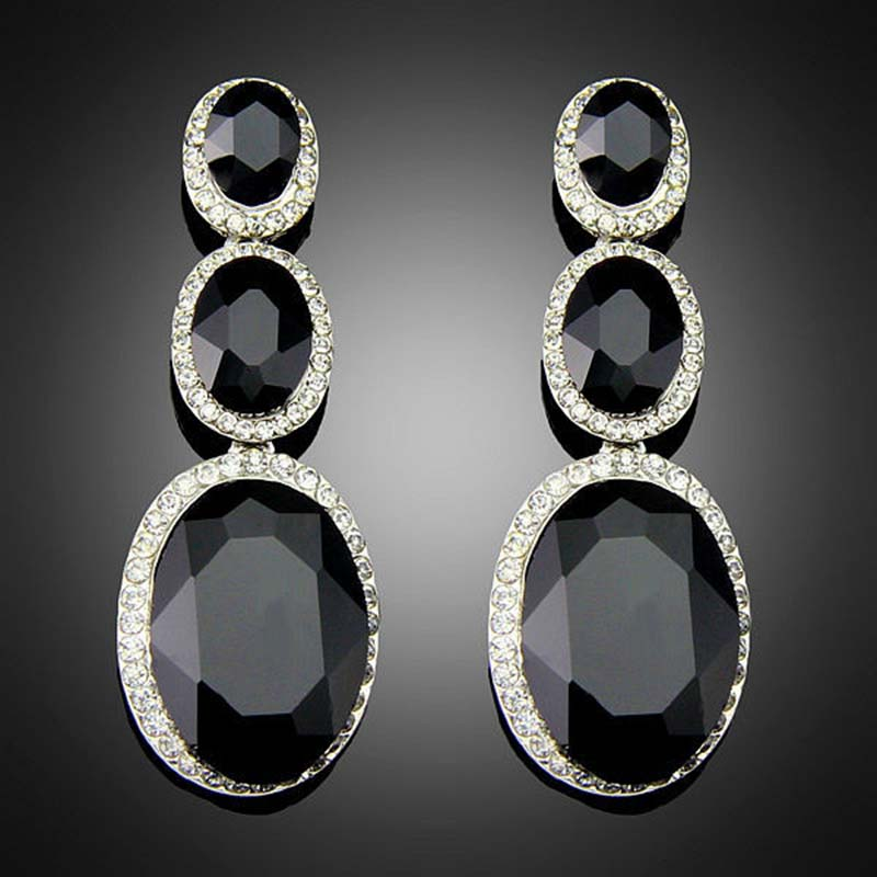 Vintage Noir élégant Crystal Drop Dangle Earring Ear Stud Fashion Jewelry Gift