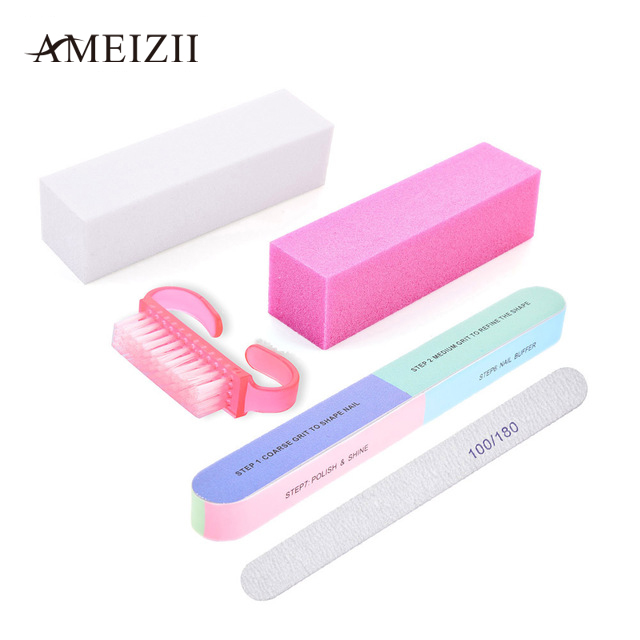 AMEIZII 5Pcs Nail Files Buffer Brush Manicure Tools Set Nails Art Tips Durable Buffing Sanding Files Block For Nail Gel Polish 8pcs nails soft spongs nail buffer fake nails tools set for manicure nail art fade manicure diy creative color changing pattern
