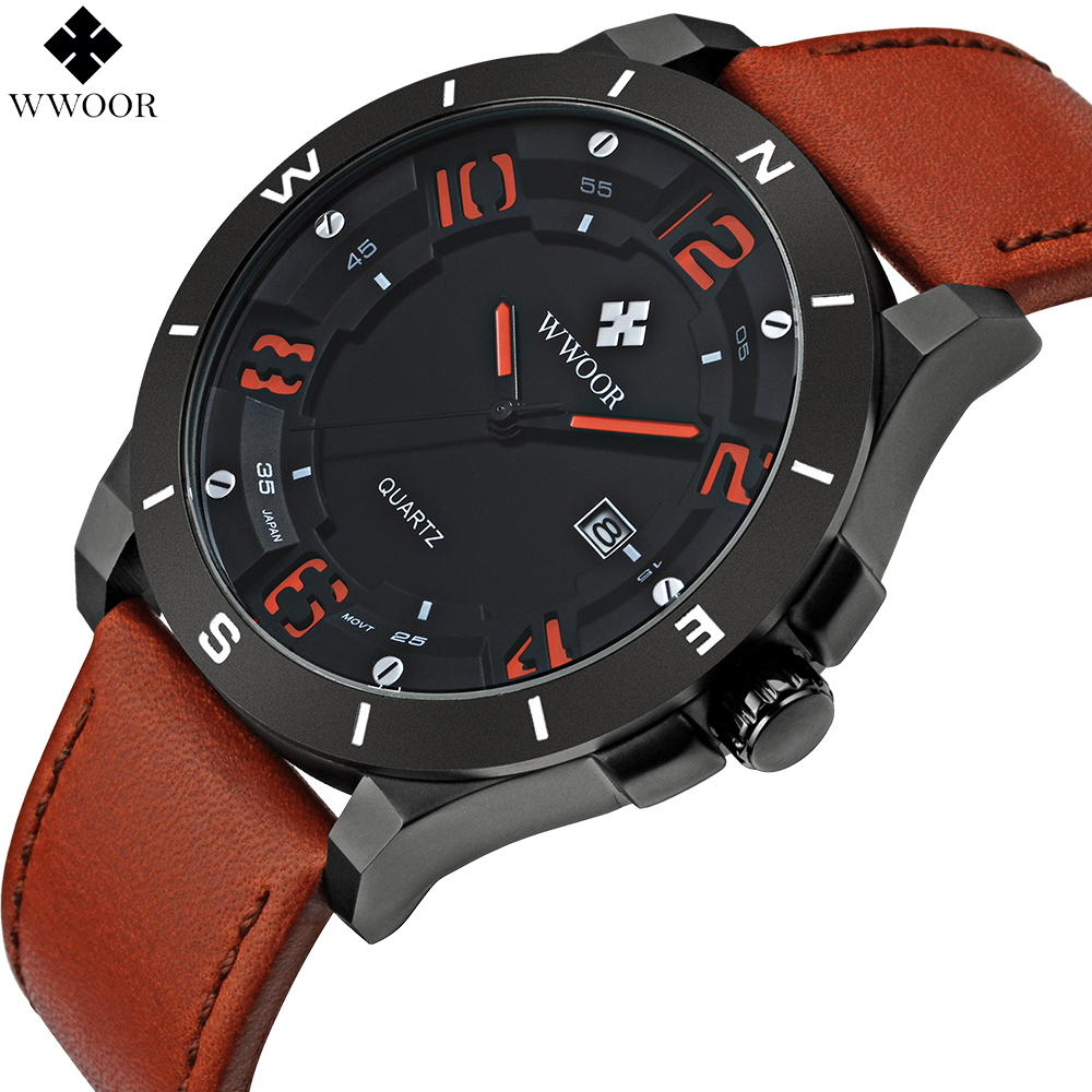 Merkki WWOOR Kellot miehet Casual Quartz Watch reloj Nahkainen - Miesten kellot