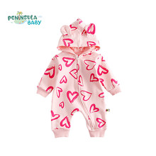 Фотография 2016 Autumn 100% Cotton Baby Clothes Boys Girl Baby Romper Winter Clothes Hooded Jumpsuit Heart Print Baby Clothing
