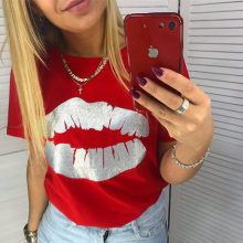 Jo Kalin Hot New Fashion T-shirts for Women Summer Short Sleeve Red lips tshirt ladies fitness harajuku t shirt women top tees(China)