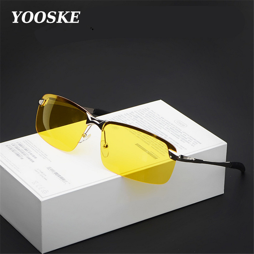 YOOSKE Alloy UV400 Men's Driver Night Vision Goggles Sunglasses Driving Male Driving Sun Glasses For Men Anti-glare