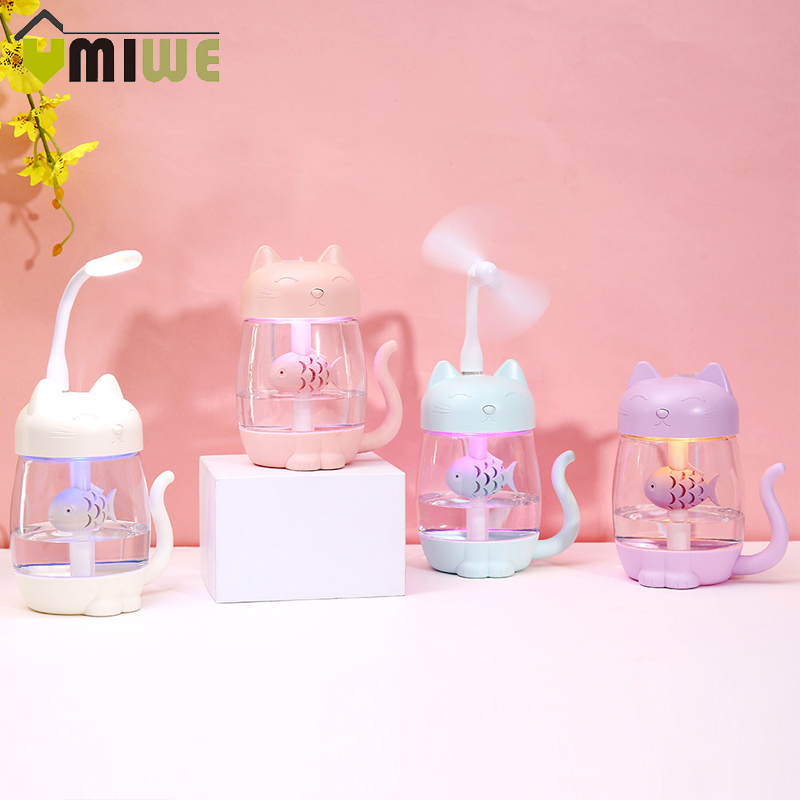 3 In 1 USB Cat Air Humidifier Mini Humidifier Essential Oil Diffuser Purifier Atomizer With LED Light Adorable Fan For Home Car