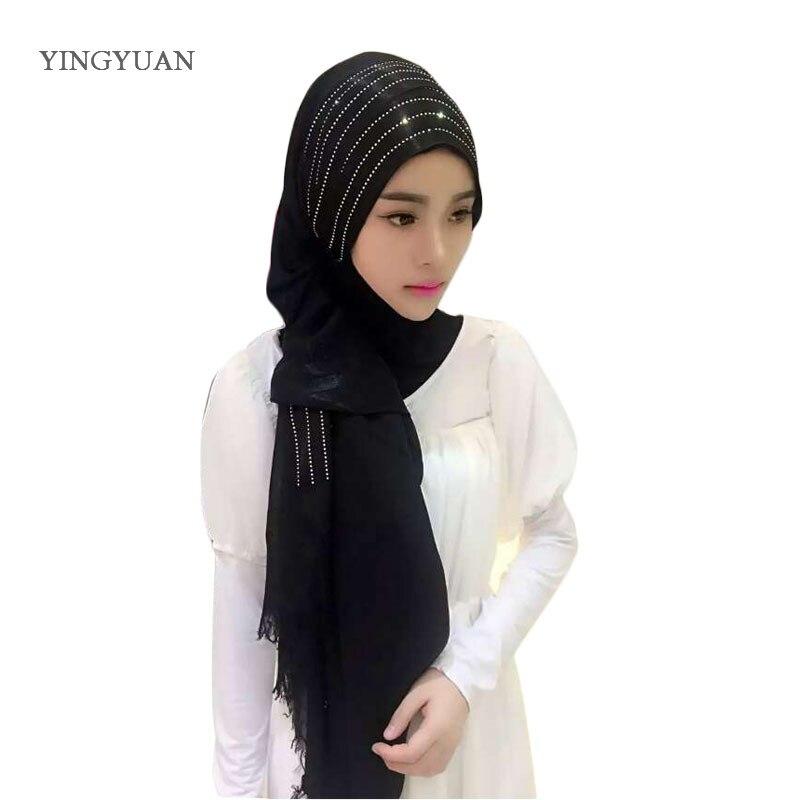 CJ61 New Flano muslim hijabs high quality women scarf Autumn Fashion Elegant ladies scarves Hot fix rhinestone shaw sciarpa