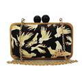 wooden frame ladies finger hand pattern evening clutch bag wedding women purses(C092)