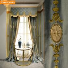 Занавески на заказ, европейский стиль, для гостиной, Высококачественная вышивка, голландский бархат, синяя ткань, затемненная занавеска, тюль, балдахин, драпировка, B407