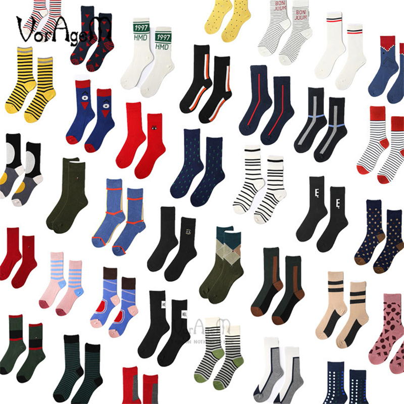 New Casual Combed Cotton   Socks   for Men Tend Harajuku Street Hip Hop Funny Happy   Socks   Men's Colorful Stripe Pattern Long   Socks