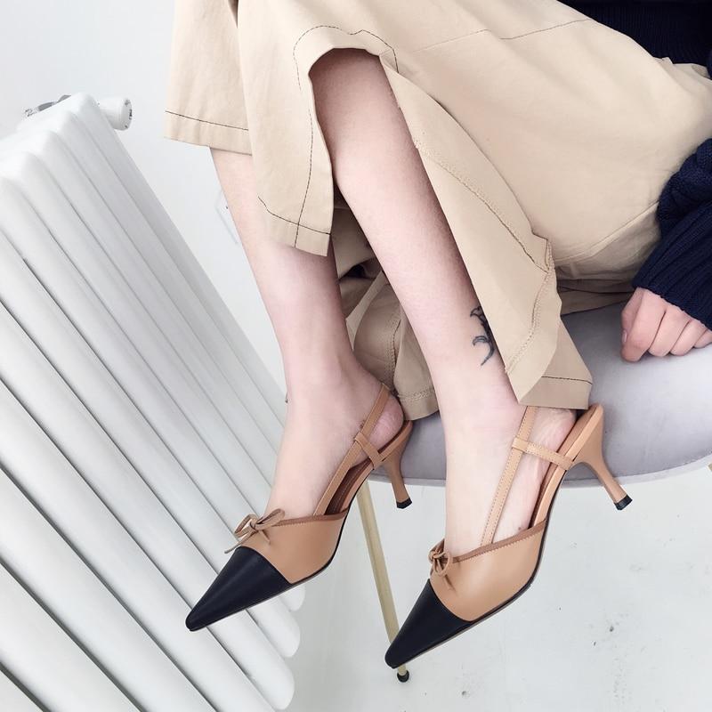 Femmes Partie De blanc Sexy Pour Mules cravate Nouveau 2019 brown Black Sandales Cadeau Mode Talons Dames Nb038 Arc Noir Pointu Mince D'été Bout Bimolter TIxqzwBz