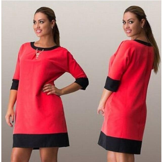 6XL Wanita Berpakaian Santai Gaun Longgar Wanita Setengah Lengan O Leher  Patchwork Panjang Lutut Musim Gugur 1287ed1024