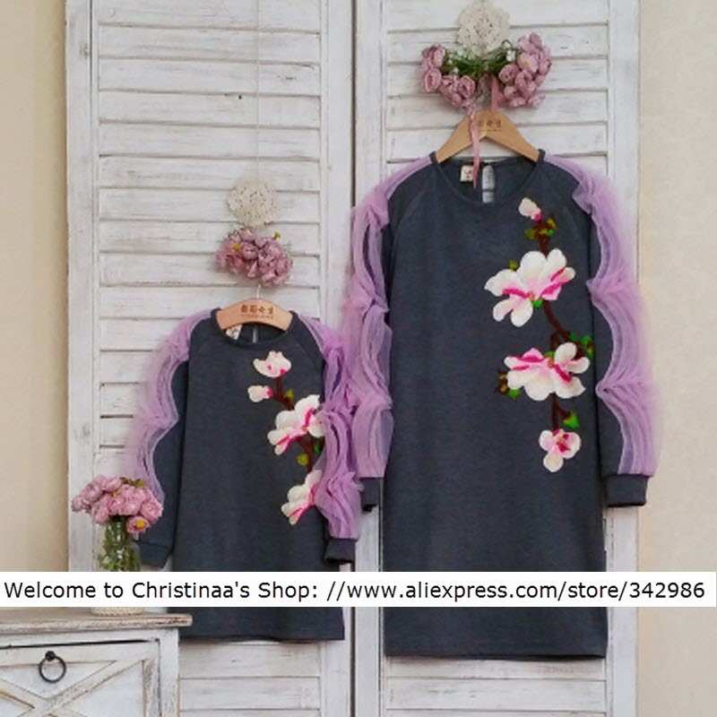цена на Wholesale clothing family matching mother and daughter dresses plus Large size 3XL 4XL pregnancy maternity clothes Woman Girl