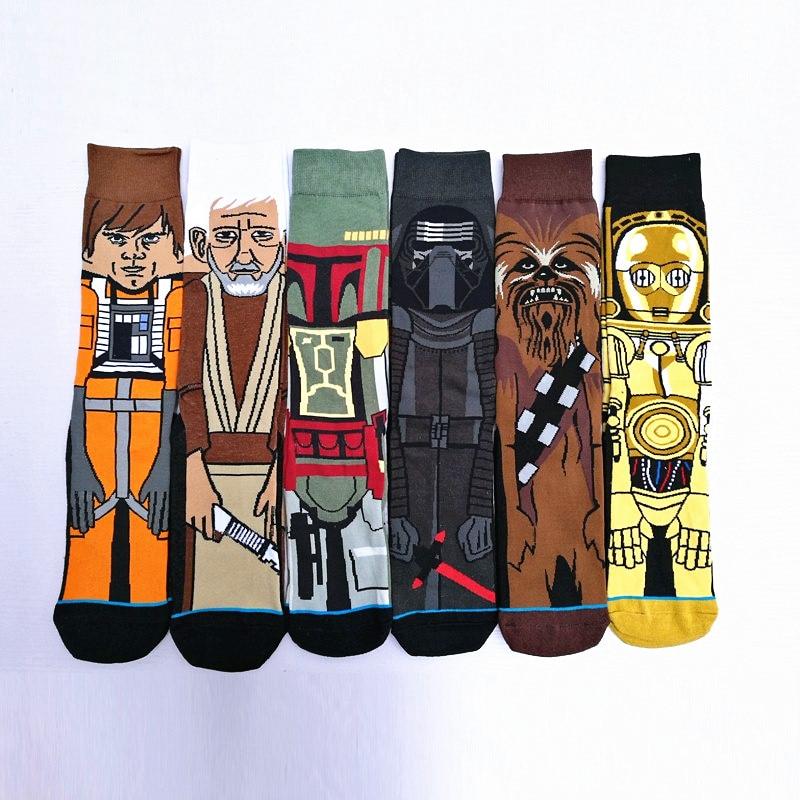 2018 Sale Hot mix 6pairs/lot Star Wars Socks Men Planet Battle Vader Socks Cartoon Funny Socks Spring Autumn And Winter