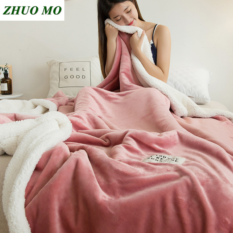 ZHUO MO Double-layer lamb blankets for beds pink winter weighted blanket Fleece Super Soft Throw On Sofa Bed sheets blanket