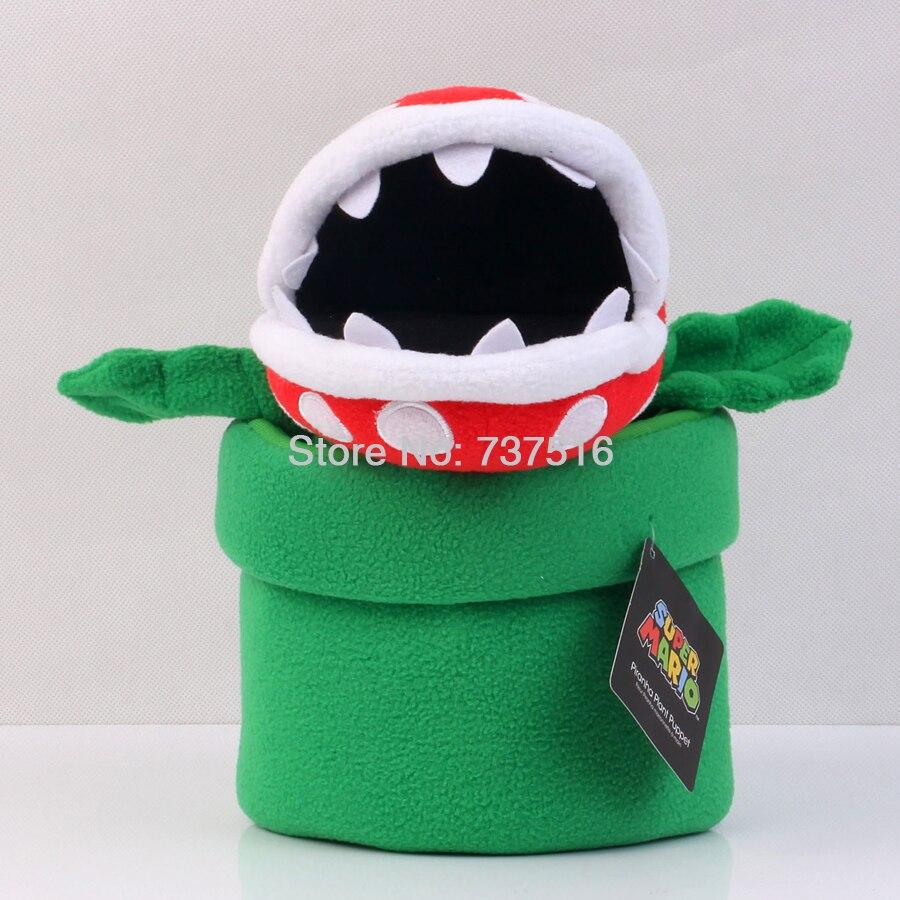 цена New Super Mario Bros Green Leaf White teeth Piranha Plant Telescopic Hand Puppet Kids Stuffed Plush White Dots Toys онлайн в 2017 году