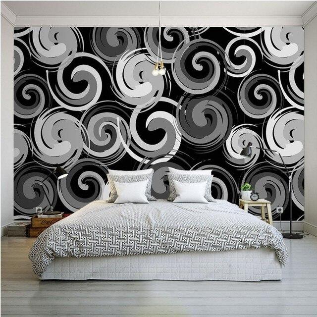 Photo papier peint Personnalité Noir blanc spirale fond mur ...
