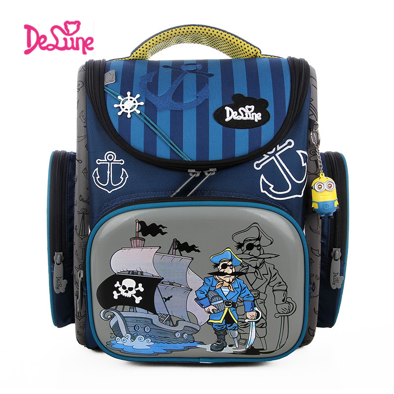ФОТО Delune School Bag  Children Backpack High Quality 3D Print School Bags for Boys Girls Child Bags Primary School Backpacks
