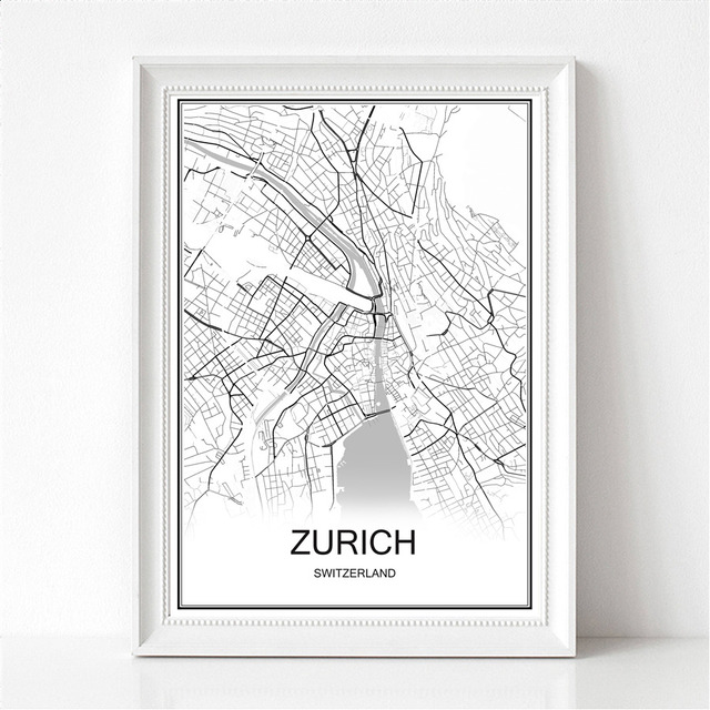Zurich switzerland world city map print poster abstract coated paper bar cafe living room home decoration