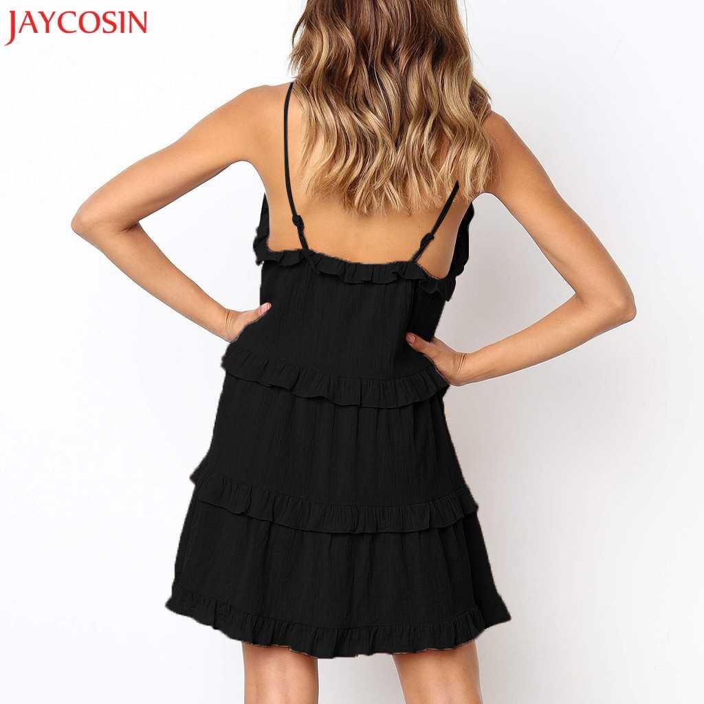 JAYCOSIN Для женщин пикантные туфли с оборками и бантом без рукавов с открытыми плечами, без рукавов, а-силуэта, черное платье элегантное платье принцессы белое платье для Для женщин L2 z0424