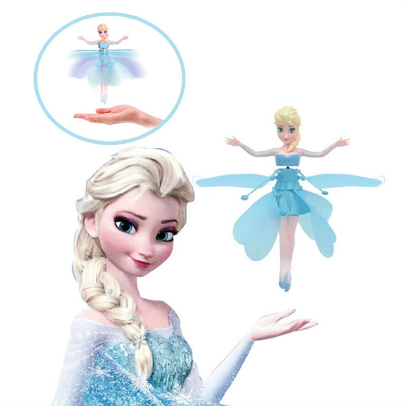Free Shipping Blue Flying Fairy Elsa Doll Toys Infrared Induction Control Dolls