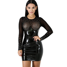 new womens PU leather dress fashion sexy hot drilling perspective bag hip black