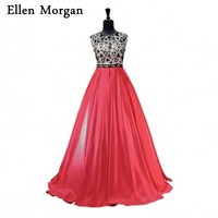 Red Satin Ball Gowns Prom Dresses 2018 For Women Wear African Black Girls Beaded Stones Champagne