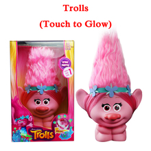 New Movie Trolls Town Poppy Toys With Light Touch to Glow Anime Figures Hair Up Christmas Toys For Children Boxed zy551