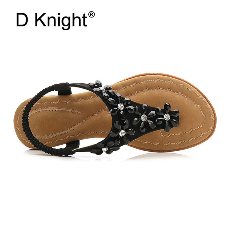 16a81073c55d Rhinestone Flowers Summer Shoes PU Women Sandals Boho Lady Flip Flop Beach  Sandal shoes Elastic Band Platform Shoes Big Size 42 -in Low Heels from  Shoes on ...