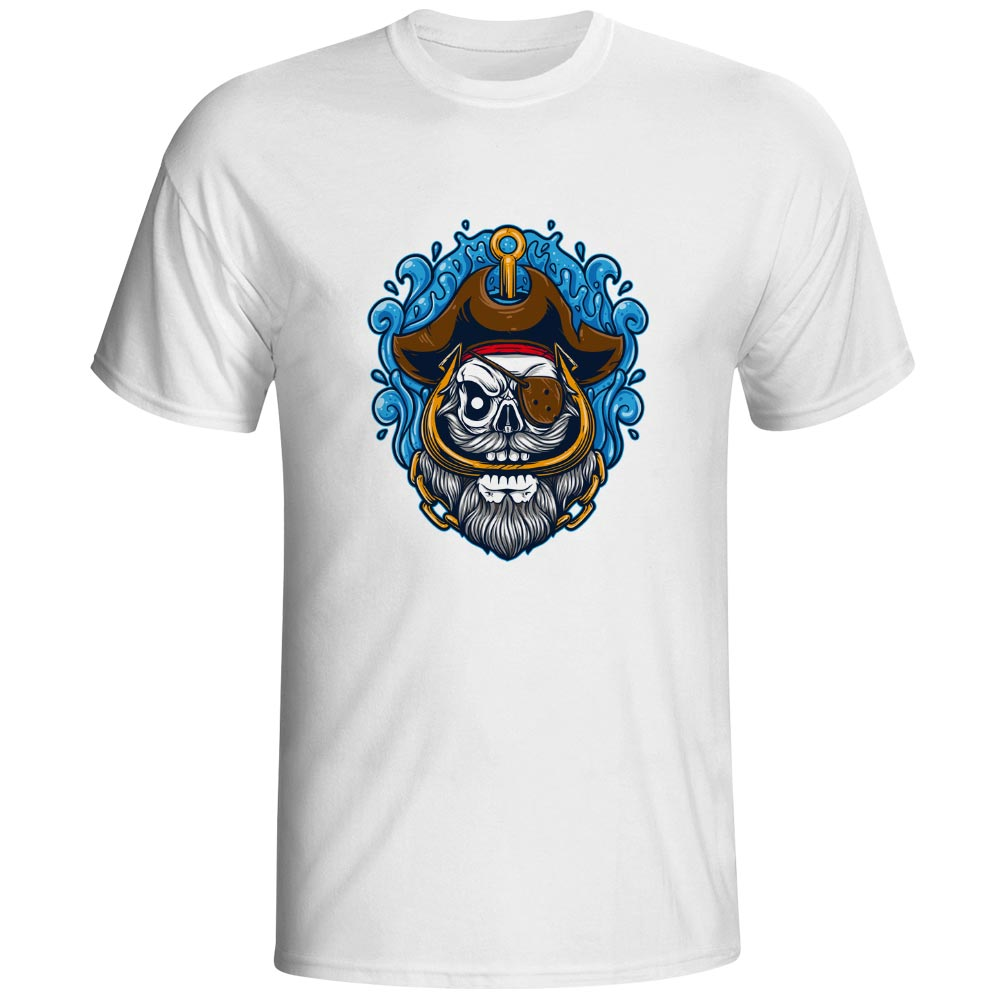 Captain Skull T Shirt Caribbean Pirate Cool Fashion Creative T-shirt Punk Hip Hop Anime Unisex Tee
