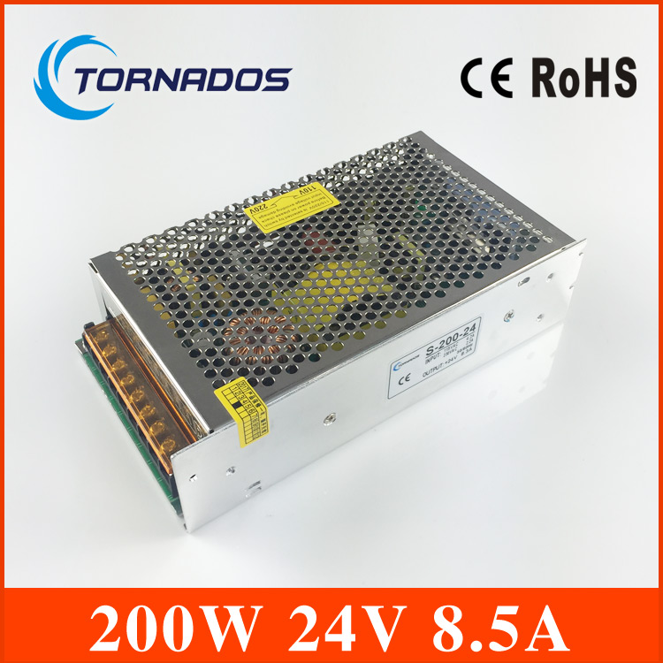 цена на CE approved safe standards nice quality power supply 24v 200w 8.3A single output metal case 24v power supply