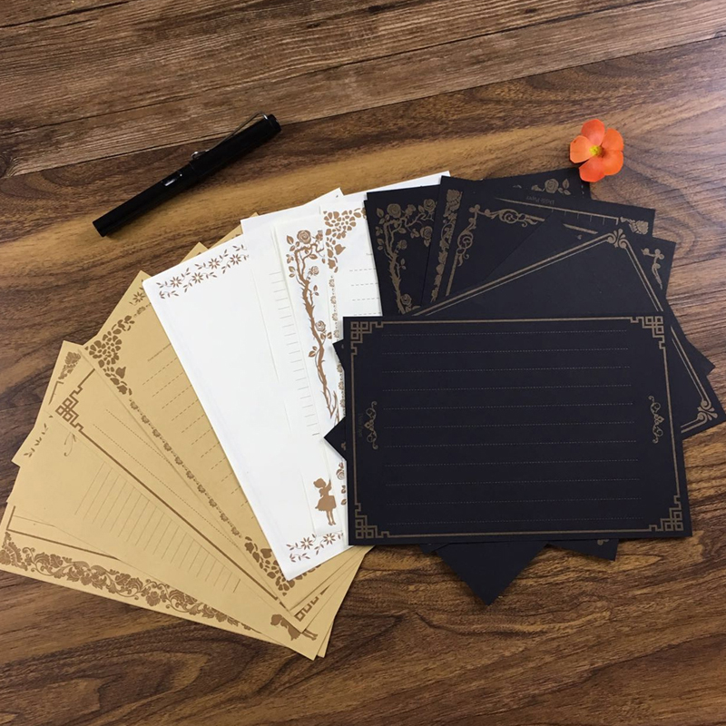 8 Sheets Vintage Retro Design Writing Stationery Paper Pad Note Letter Set-PC Friend