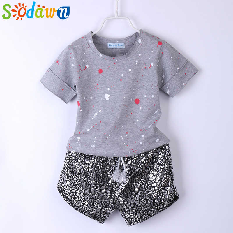 312f7e5b53da Sodawn Summer Style Girls Clothes Paint Points Tops+Leopard Grain Shorts  2Pcs Baby Girls Clothing